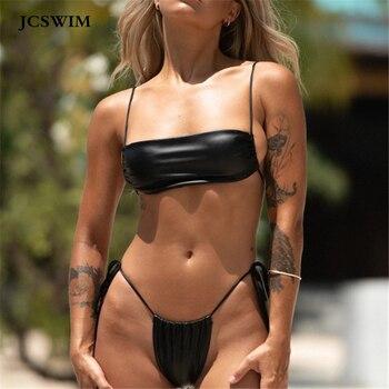 цены JCSWIM Sexy Bandeau Thong Bikini Swimwear Women 2019 Bandage Black Swimsuit Female Two Pieces Bathing Suit Women Biquini Set