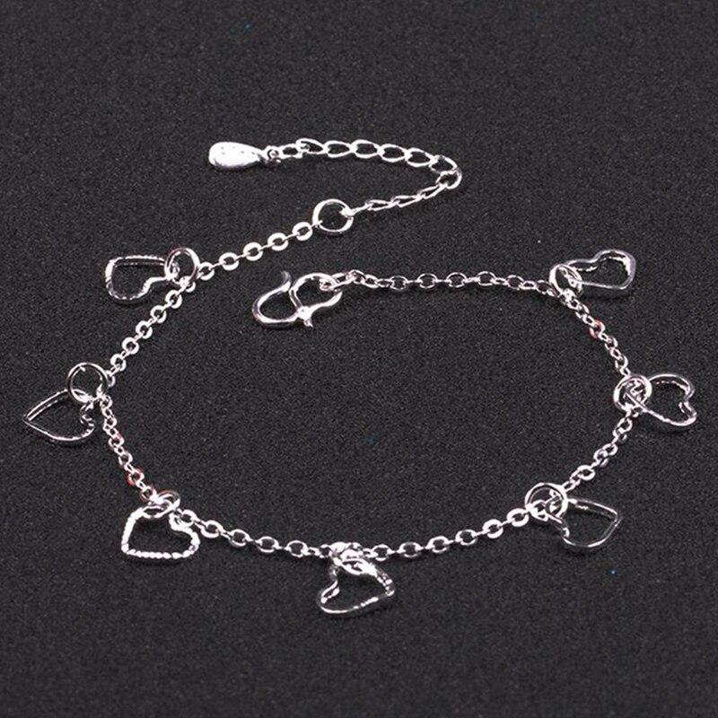 2019 New Fashion Love Heart Pendant Hand Chain Bracelets Ladies 925 Sterling Silver Bracelet Chain For Women&Girl Jewelry Gift