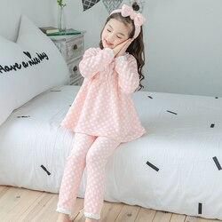 3-12 anos de uso menina grande inverno manga longa pijamas de flanela define bonito impressão menina pijamas conjunto criança casa usar presentes do dia das crianças