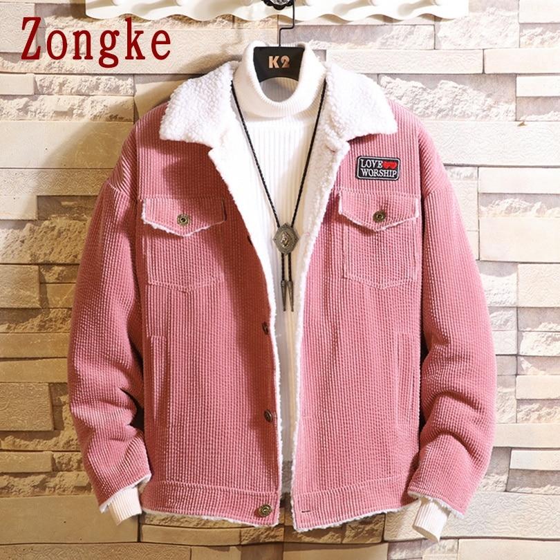 Zongke однотонная Вельветовая зимняя мужская куртка, пальто, осенняя парка, зимняя куртка, Мужская одежда, мужская парка 2020, зимнее Новое посту...