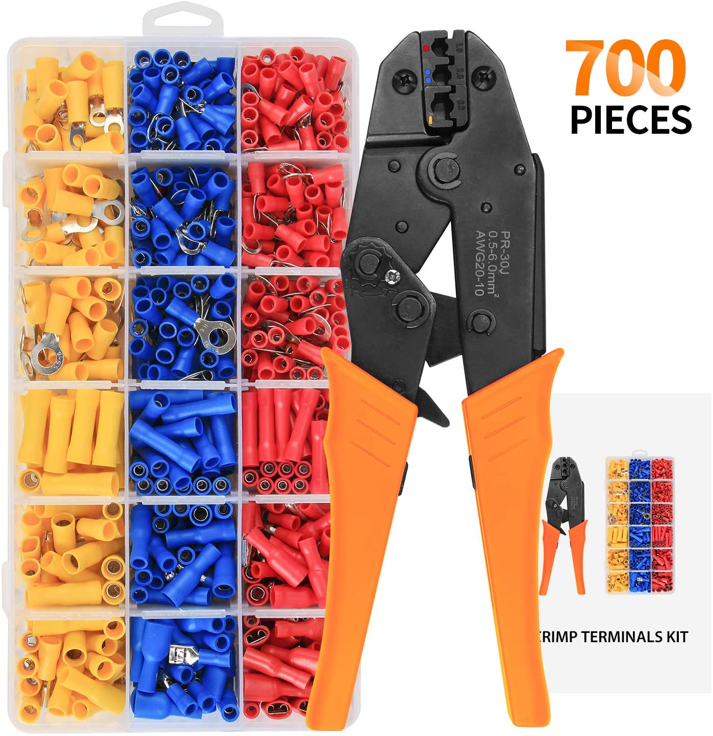 HS-30J Crimping Tools Pliers For 22-10 AWG 0.5-6.0mm2 Of Insulated Car Auto Terminals & Connectors Crimping Plier Wire