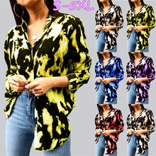 NEW Women Printed Single Breasted Loose Plus Size OL Style Long Sleeve Autumn Blouse (S-5XL)