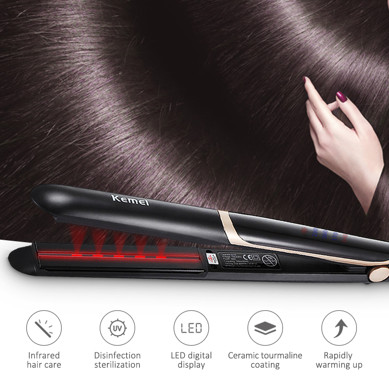 Infrared Hair Straightener Ceramic Flat Iron Floating Plate Design Hair Straightening Iron High Quality DIY Beauty Tool 43