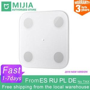Image 1 - 100% Original Xiaomi Mi 스마트 바디 팻 스케일 2 Mifit APP 바디 컴포지션 모니터 LED 디스플레이 숨겨진 및 큰 피트 패드