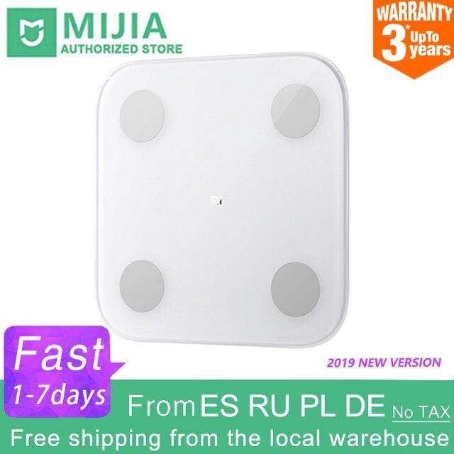 100% Original Xiaomi Mi 스마트 바디 팻 스케일 2 Mifit APP 바디 컴포지션 모니터 LED 디스플레이 숨겨진 및 큰 피트 패드