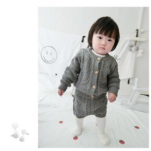 Image 2 - Filles vêtements ensembles pur coton tricot costume à manches longues veste Shorts deux pièces filles vêtements filles vêtements ensembles