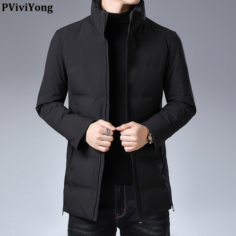 PViviYong 2019 Winter New Fashion High Quality  Duck Down Jacket Men, Mandarin Collar Casual Parka Men Coat 015399