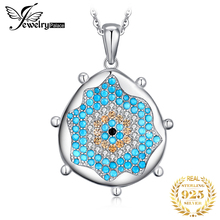 Jpalace Created Spinel Turquoise  Pendant Necklace 925 Sterling Silver Gemstones Choker Statement Necklace Women Without Chain