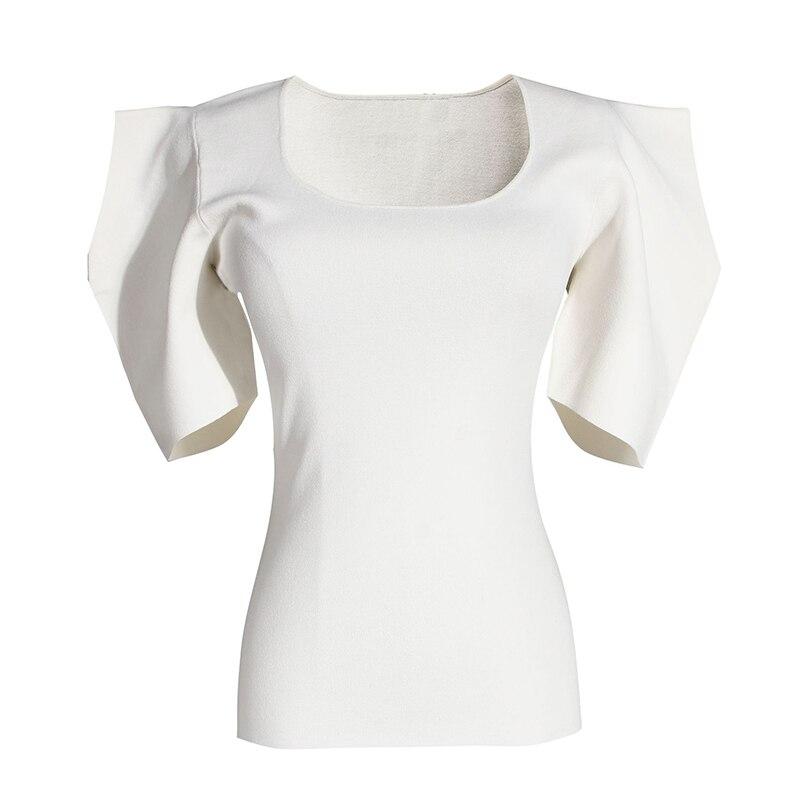 [EAM] Women Black White Knitting High Elasitc T-shirt New Round Neck Half Puff Sleeve  Fashion Tide  Spring Summer 2020 1W568 2