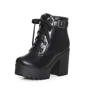 Image 3 - Autumn Winter Martin Boots Boots Women Round Toe Buckle Shoes Women High Heel Fashion Plus Size Square Heels Lacing 3 Colors