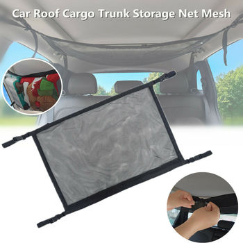 Car Interior Roof Storage Mesh Bag, Auto Ceiling Top Space Debris Toy Storage Organizer Portable Car Roof Storage Net Pocket image