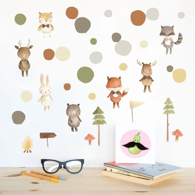 Dessin animé animaux Stickers muraux pour enfants chambre enfants lit chambre salon Stickers muraux bricolage Dot chambre décoration amovible autocollant