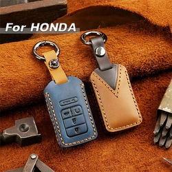 5 Button Leather Car Key Cover Case Holder For Honda Civic Accord CRV HRV Pilot 2016 2017 2018 2019 2020  key chain