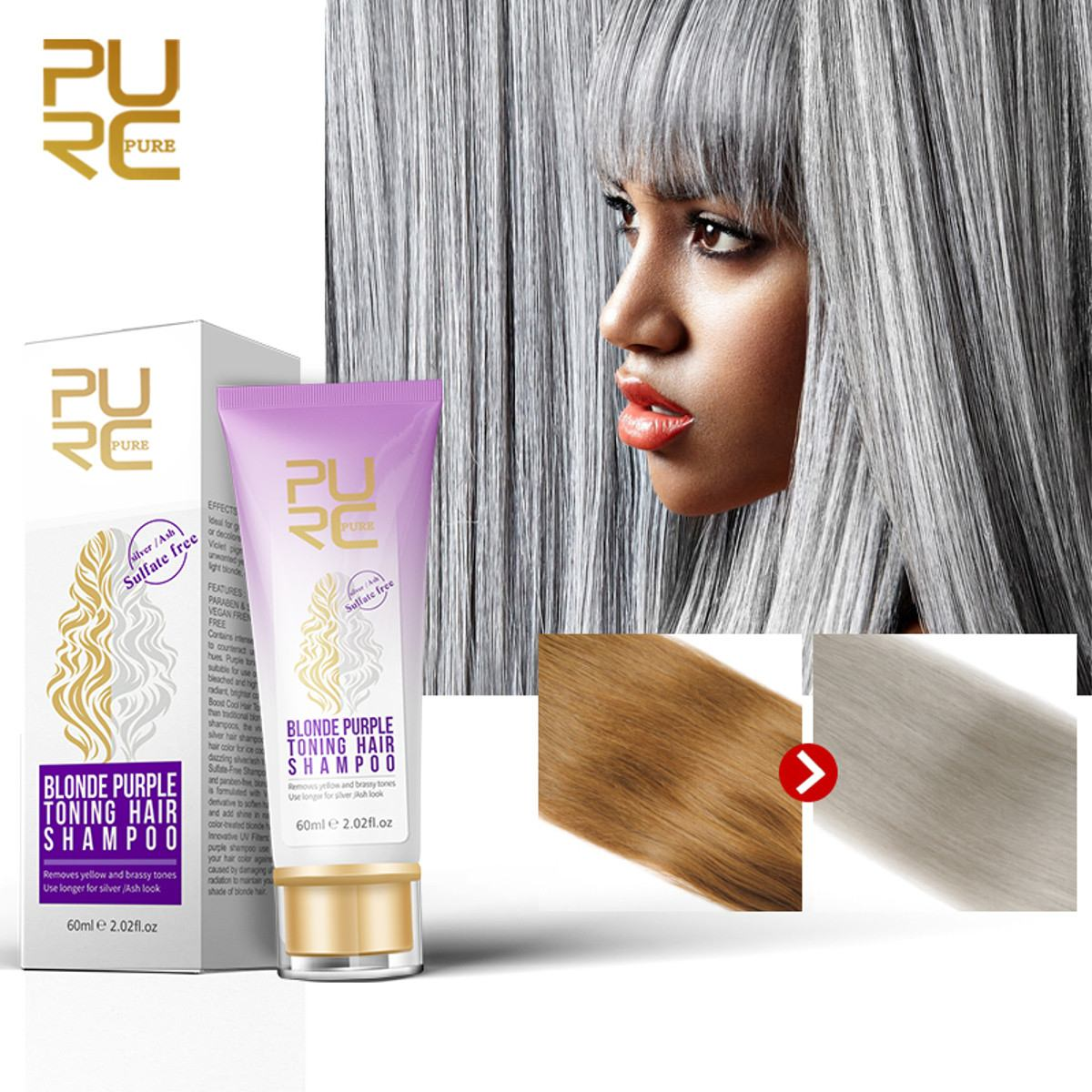 PURC Blonde Purple Hair Shampoo Removes yellow and brassy tones for silver Ash look Purple Hair Shampoo image
