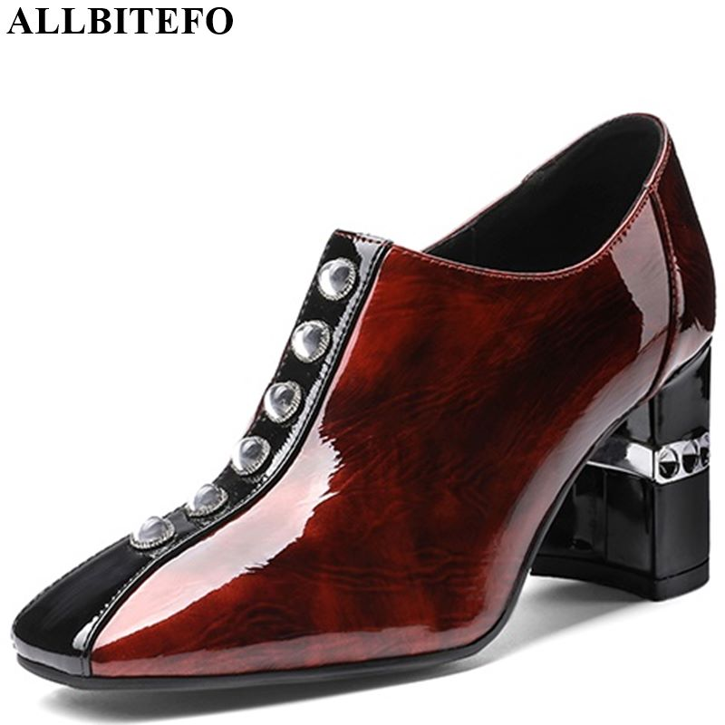 ALLBITEFO High Quality Genuine Leather Women Heels Spring Autumn Rhinestone High Heel Shoes Comfortable Office Ladies Shoes