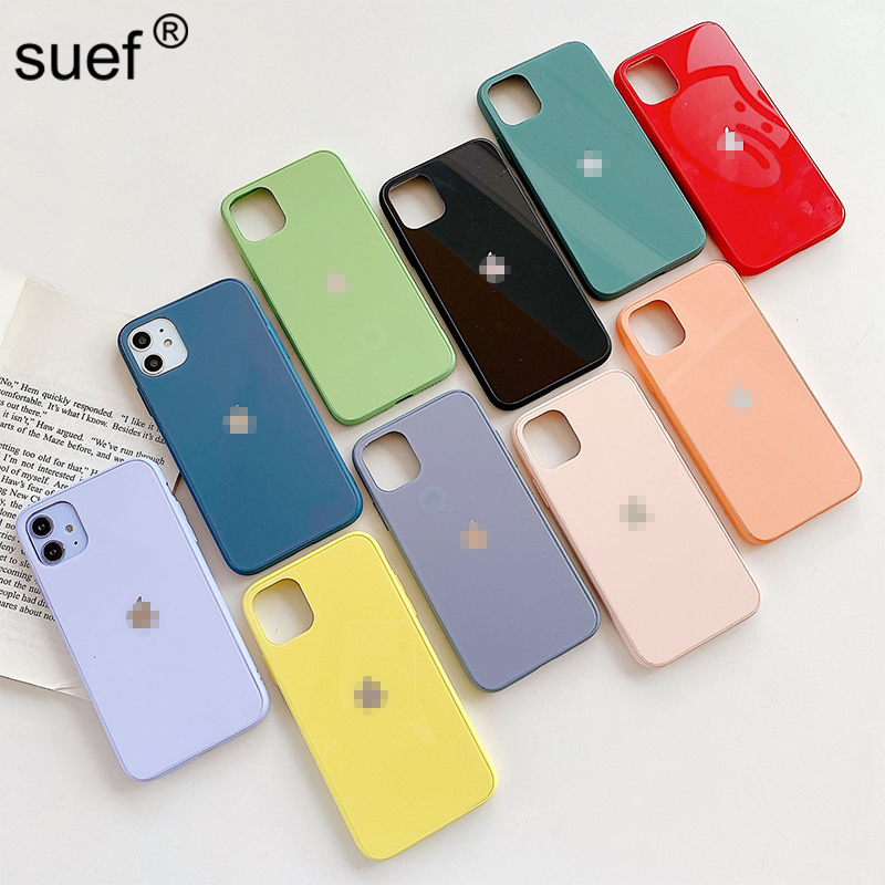 suef Glass Candy Color Phone Case For iPhone 11 Pro Max X Xs Max Xr 6 6s 7 8 Plus Plain Solid Color Back Cover For iPhone 11 Xs