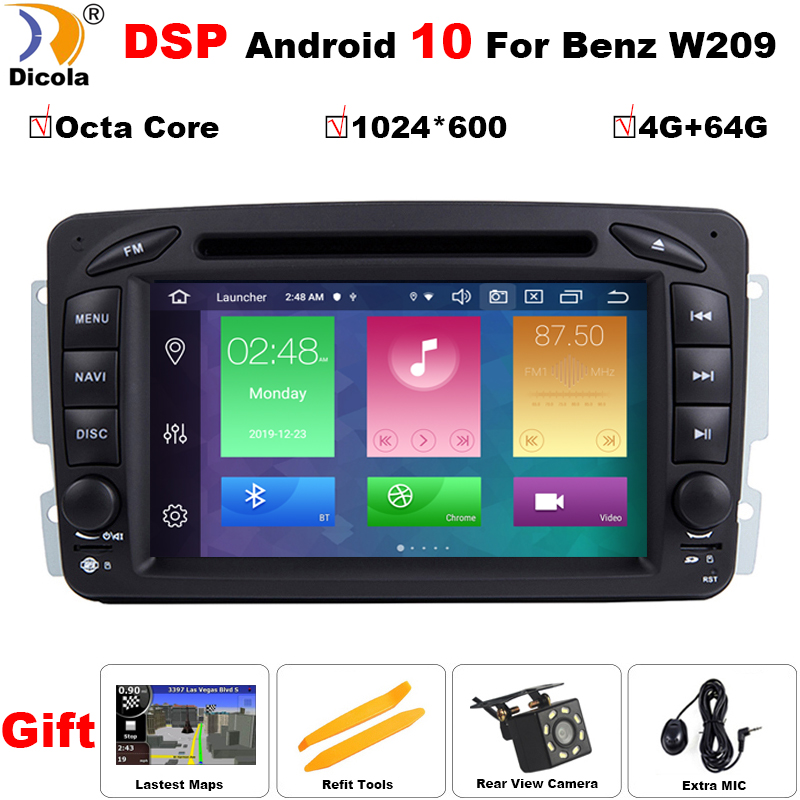 PX5 DSP IPS <font><b>Android</b></font> 10 4G+64G 2 DIN Car DVD player For Benz CLK W209 <font><b>W203</b></font> W168 W208 W463 W170 Vaneo Viano Vito E210 C208 GPS PC image