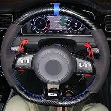 Carbon Fiber Black Genuine Leather Suede Car Steering Wheel Cover For Volkswagen Golf 7 GTI Golf R MK7 Polo Scirocco 2015 2016