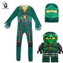 Зеленый Костюм Ниндзяго, детские комбинезоны для мальчиков, детский Рождественский костюм на Хэллоуин для детей, необычная праздничная одежда, костюм ниндзя, костюмы