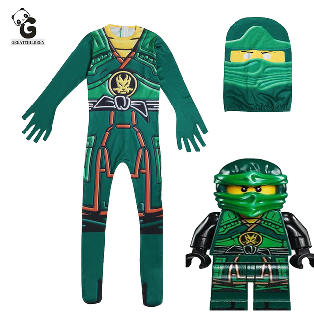 Green Ninjago Costume Kids Boys Jumpsuits Children Halloween Christmas Costume for Kids Fancy Party Clothes Ninja Costume Suits