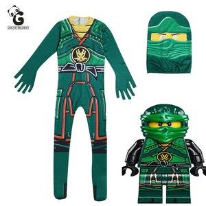 Image 1 - Groen Ninjago Kostuum Kids Jongens Jumpsuits Kinderen Halloween Kerst Kostuum Voor Kinderen Fancy Party Kleding Ninja Kostuum Suits