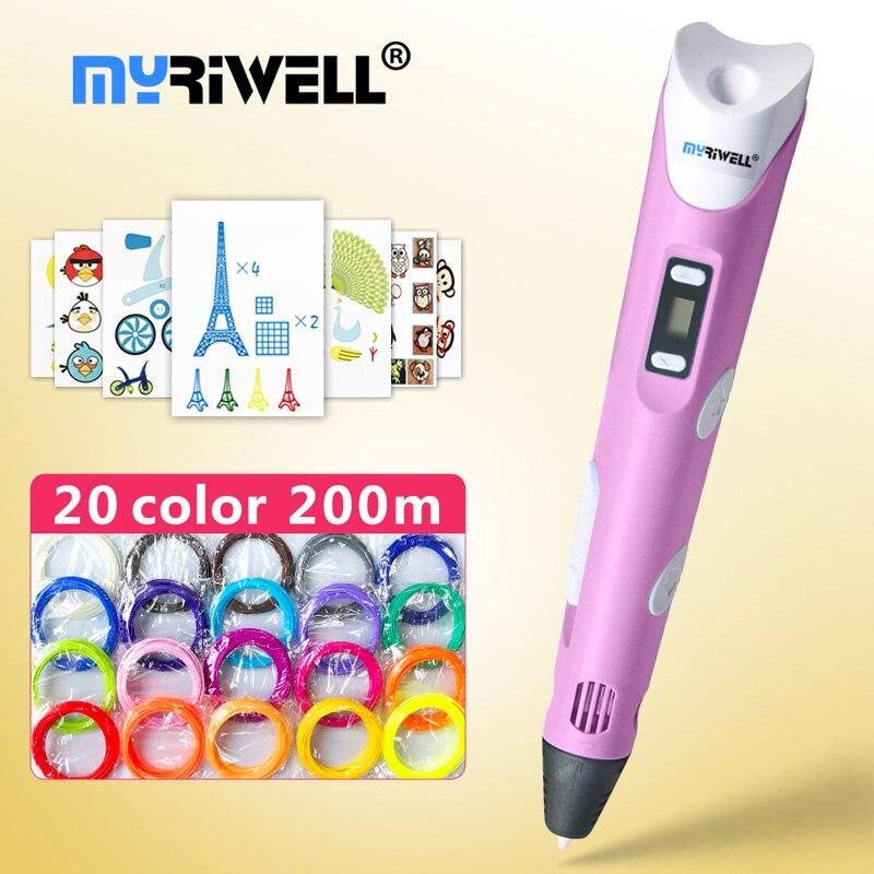 Myriwell 3d Pens + 20 * 10m ABS Filament,3 D Pen 3d Model,Creative 3d Printing Pen,pen-3d Magic PenChildren Giftspen 3 D