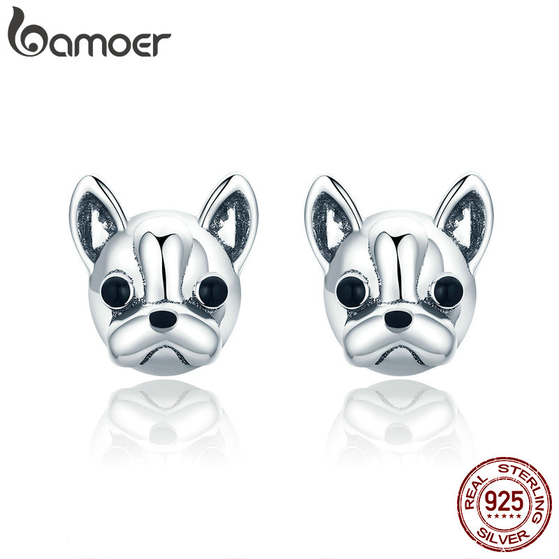 BAMOER 100% 925 Sterling Silver Loyal Partners French Bulldog Dog Animal Small Stud Earrings For Women Oorbellen Jewelry SCE283