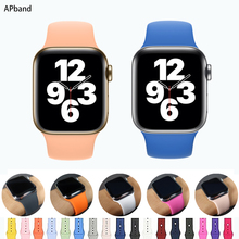 Silicone Strap For Apple Watch Band 44mm 40mm iwatch 42mm 38mm 44 Rubber watchband Belt Bracelet Apple Watch 4 3 5 6 SE cheap apband CN(Origin) milanese Watchbands New without tags for iwatch series 6 SE 5 4 3 2 1 for wrist metal Buckle aple aplle applewatch Accessories