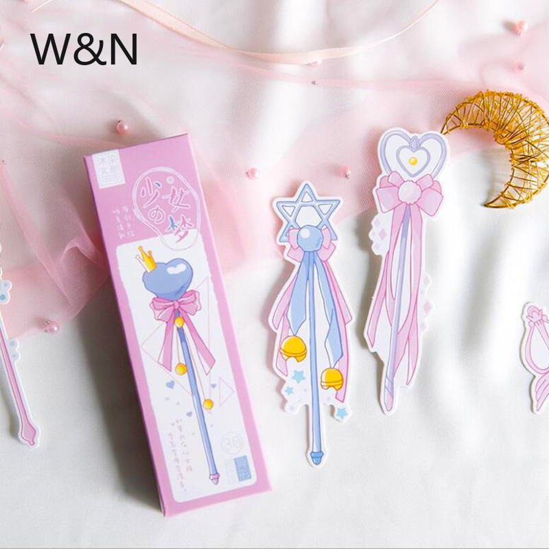 30 Pcs/ Lot Girls Magic Wand Bookmark Stationery Bookmark Paper Book Markers Marque Page Office Accessories Cute School Supplies