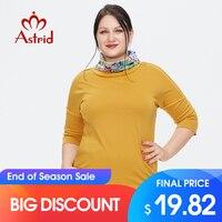 Astrid frauen t-shirt 2021 Baumwolle Top Weibliche Übergroßen Kleidung Vintage Fashion Kontrast revers Trends Gelb Tees Blusen