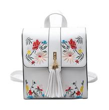 High Quality PU Embroidery Backpack School Bags For Teenagers Casual Black Trave  Women Mochila Sac A Dos Femme LL1