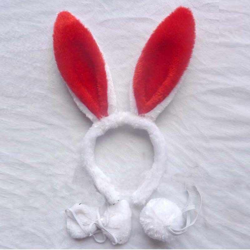 Las mujeres chica Conejito de peluche orejas diadema arco corbata cola de cosplay de conejo traje de fiesta de cumpleaños de regalo de Halloween Navidad