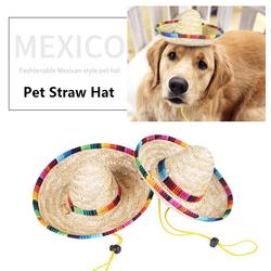 Mini chapéu de palha mexicano chapéu de palha festa de aniversário suprimentos para o gato do cão