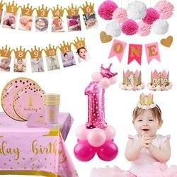 Украшение на 1-й день рождения для девочек, украшение на первый день рождения, воздушные шары на 1 год, один год, день рождения, детский праздн...