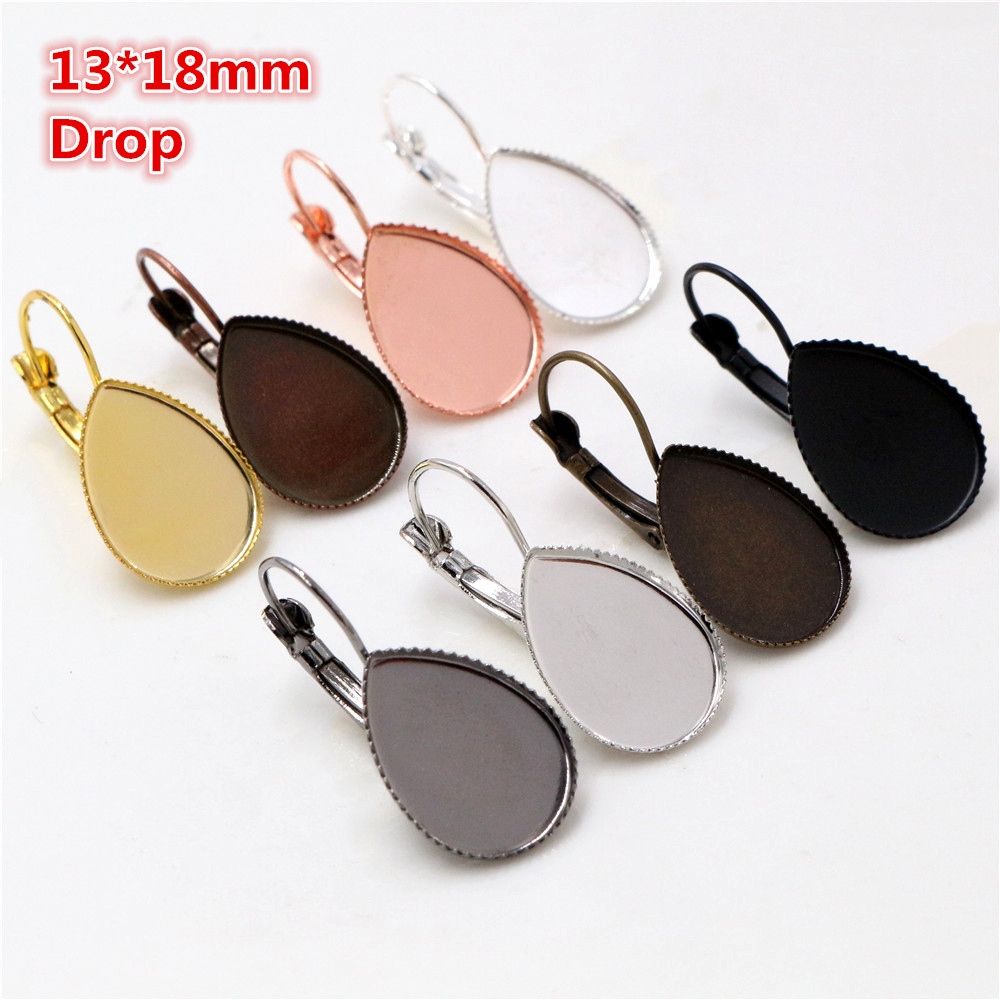 13x18mm 10pcs/lots 8 Colors Plated Drop Style French Lever Back Earrings Blank/Base,Fit 13x18mm Drop Glass Cabochons