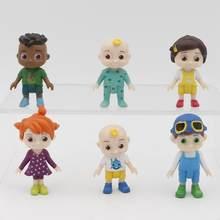 6 pçs dos desenhos animados cocomelon figura modelo boneca brinquedos família irmã irmão amigos crianças brinquedos colecionáveis crianças presentes para meninos meninas