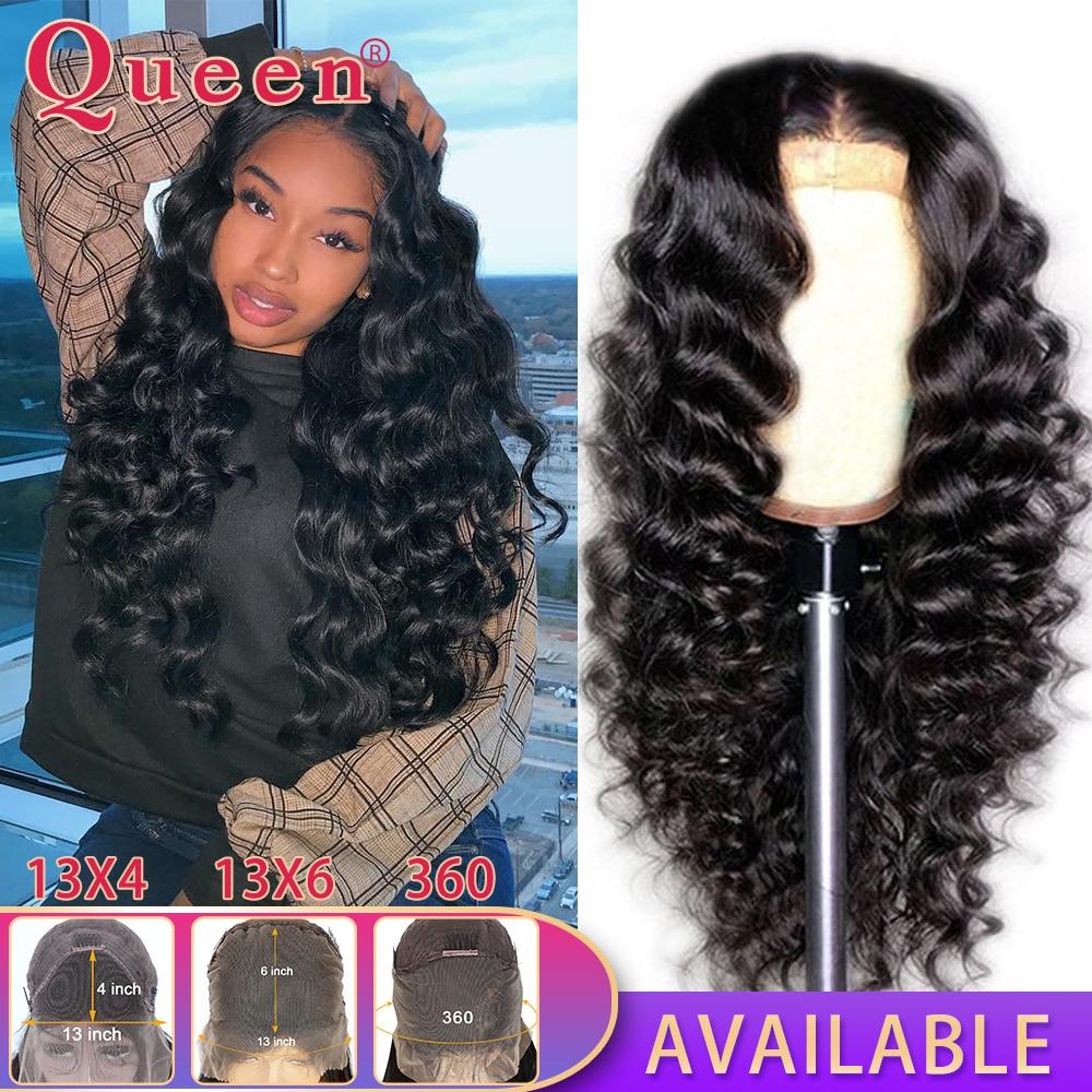 360 dentelle frontale perruque lâche vague profonde dentelle avant perruques de cheveux humains pour les femmes noires brésilien 100% cheveux humains perruques reine cheveux