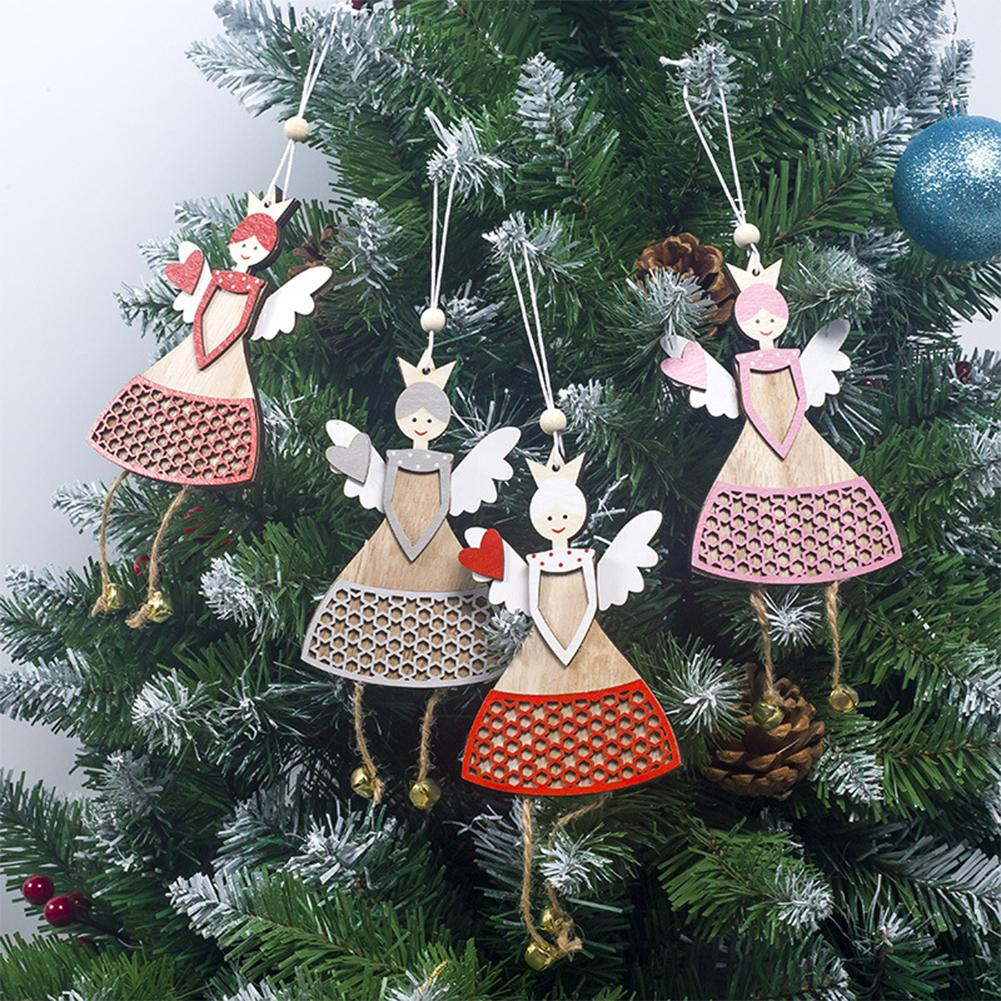 Cute Wooden Angel Doll Christmas Tree Pendant Window Hanging Ornaments Crafts Party Home Decoration