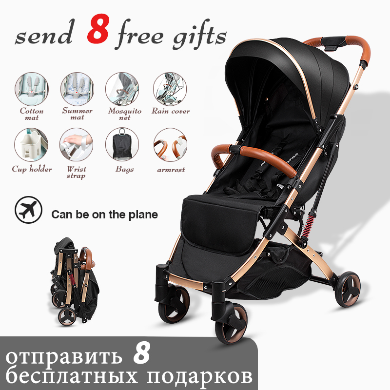 Lightweight Baby Stroller Portable Travelling Stroller Sit Recline Baby Carriage Foldable One Hand Lifting Boarding Stroller