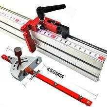 Aluminiowy kąt wskaźnik kątowy piłowanie montaż linijka narzędzie do drewna 400mm ogrodzenie aluminiowe ze skalą metryczną do piły stołowej Router
