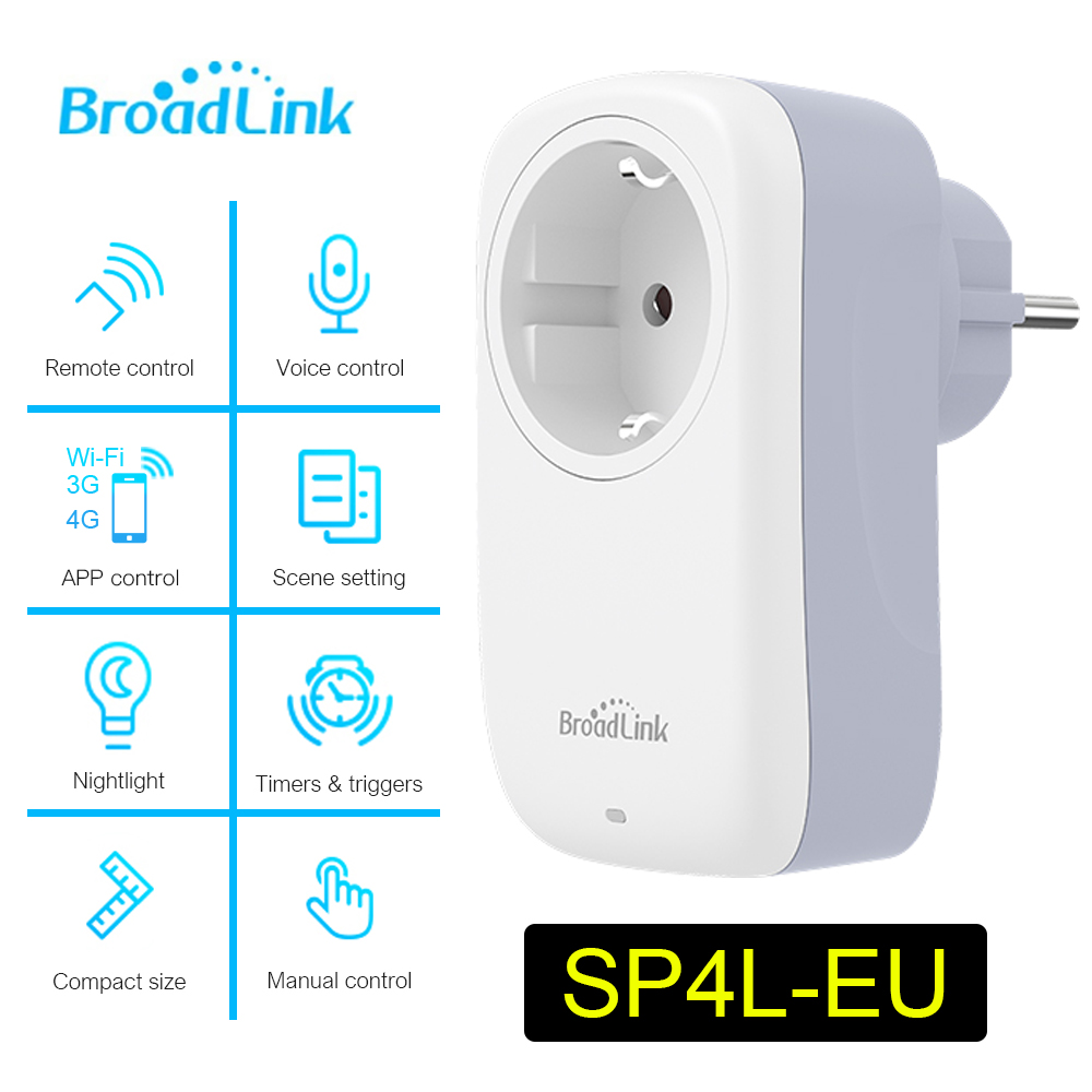Broadlink SP3S EU Socket New Mini Wifi SP4L EU Socket Timer Plug Work With Alexa Echo Google Home Siri For Smart Home Automation