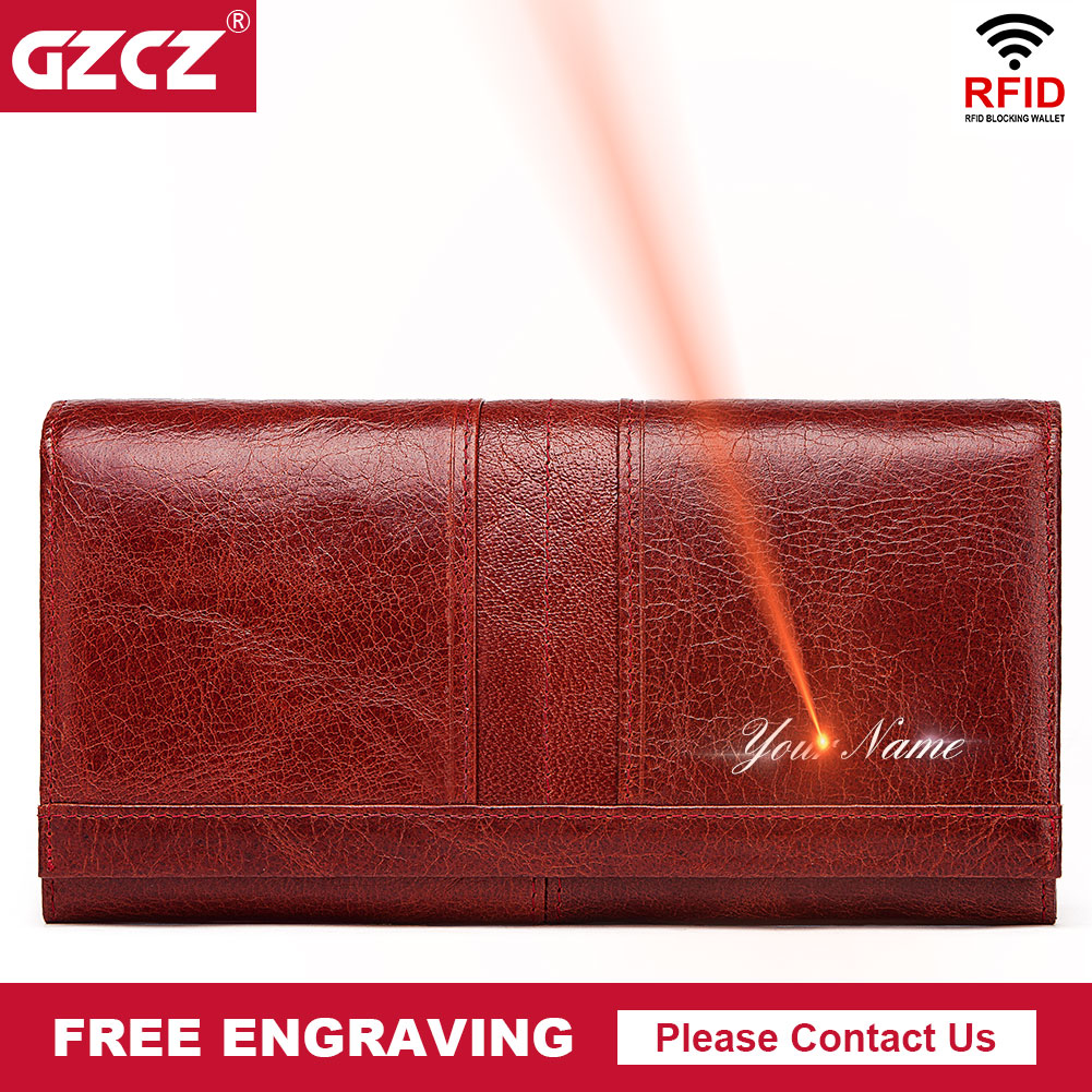 100% Genuine Leather Wallet Fashion Women Long Coin Purse Hasp Design Clutch Bags RFID Card Holder Handy Passport Wallets Carter