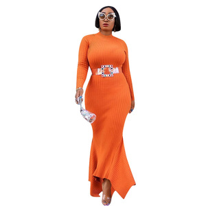 Image 5 - African Dresses For Women Robe Knitting African Clothing Dashiki Fashion Long Maxi Dress Africa Clothing Tight Long Sleeve Dress