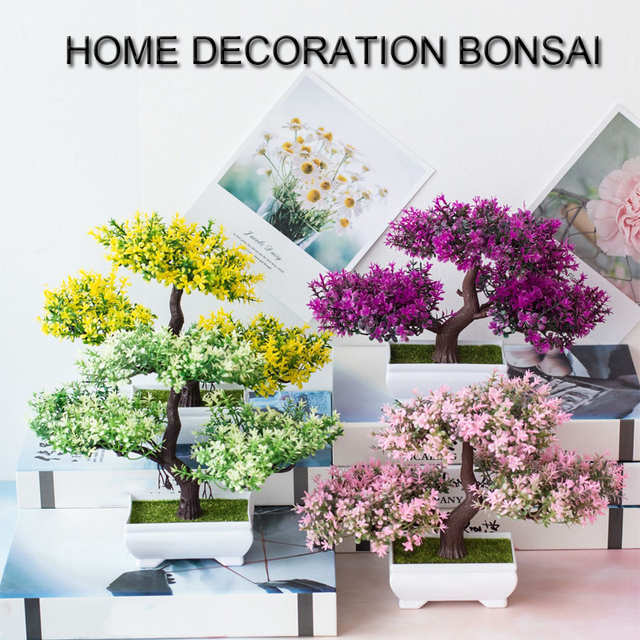 Artificial Plants Pine Bonsai Small Tree Pot Plants Fake Flowers Potted Ornaments For Home Decoration Hotel Garden Decor 2