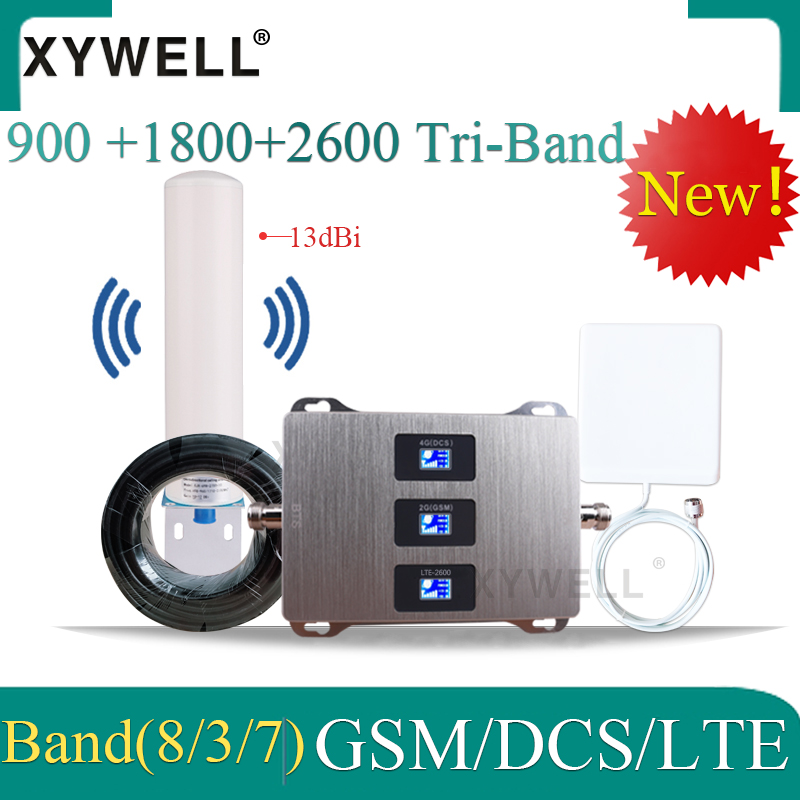 2019 New!! Russia Cellular Amplifier 4g 900 1800 2600 DCS LTE 2G 3G 4G Tri-Band GSM Signal Repeater GSM Mobile Signal Booster