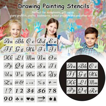 40PCS Drawing Scrapbooking Proportion Template Set Letters Numbers Scrapbook Openwork Templates Cards Craft Drawing Stencils tanie i dobre opinie