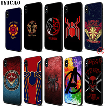 IYICAO Marvel Comics logo Soft Black Silicone Case for iPhone 11 Pro Xr Xs Max X or 10 8 7 6 6S Plus 5 5S SE