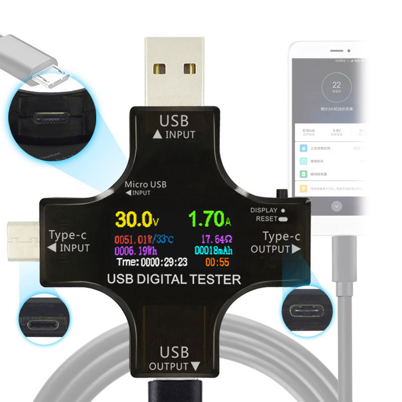 ATORCH тип-c pd USB Тестер DC Цифровой вольтметр амперимитор напряжение измеритель тока Амперметр детектор Банк питания зарядное устройство индикатор