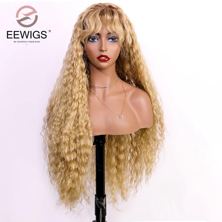 Pelucas de alta temperatura Pelo Rizado Ombre sintético peluca frontal miel marrón peluca rubia resistente al calor desgaste diario