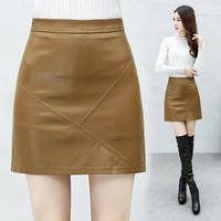 High Quality Women Pu Leather Skirt 2019 Autumn Winter Elegant High Waist Female Package Hip Short PU Skirt Plus Size 3XL W1497